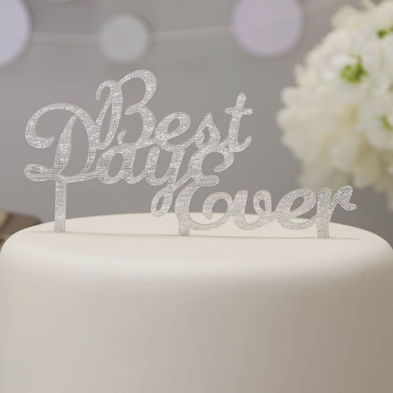 """Best Day Ever"" Cake Topper - Silver, GR-Ginger Ray UK, Putti Fine Furnishings"