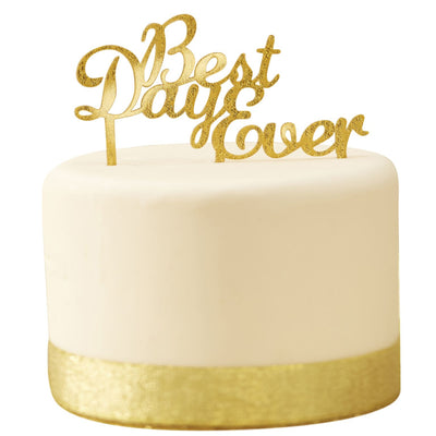 """Best Day Ever"" Cake Topper - Gold -  Party Supplies - Ginger Ray UK - Putti Fine Furnishings Toronto Canada - 1"