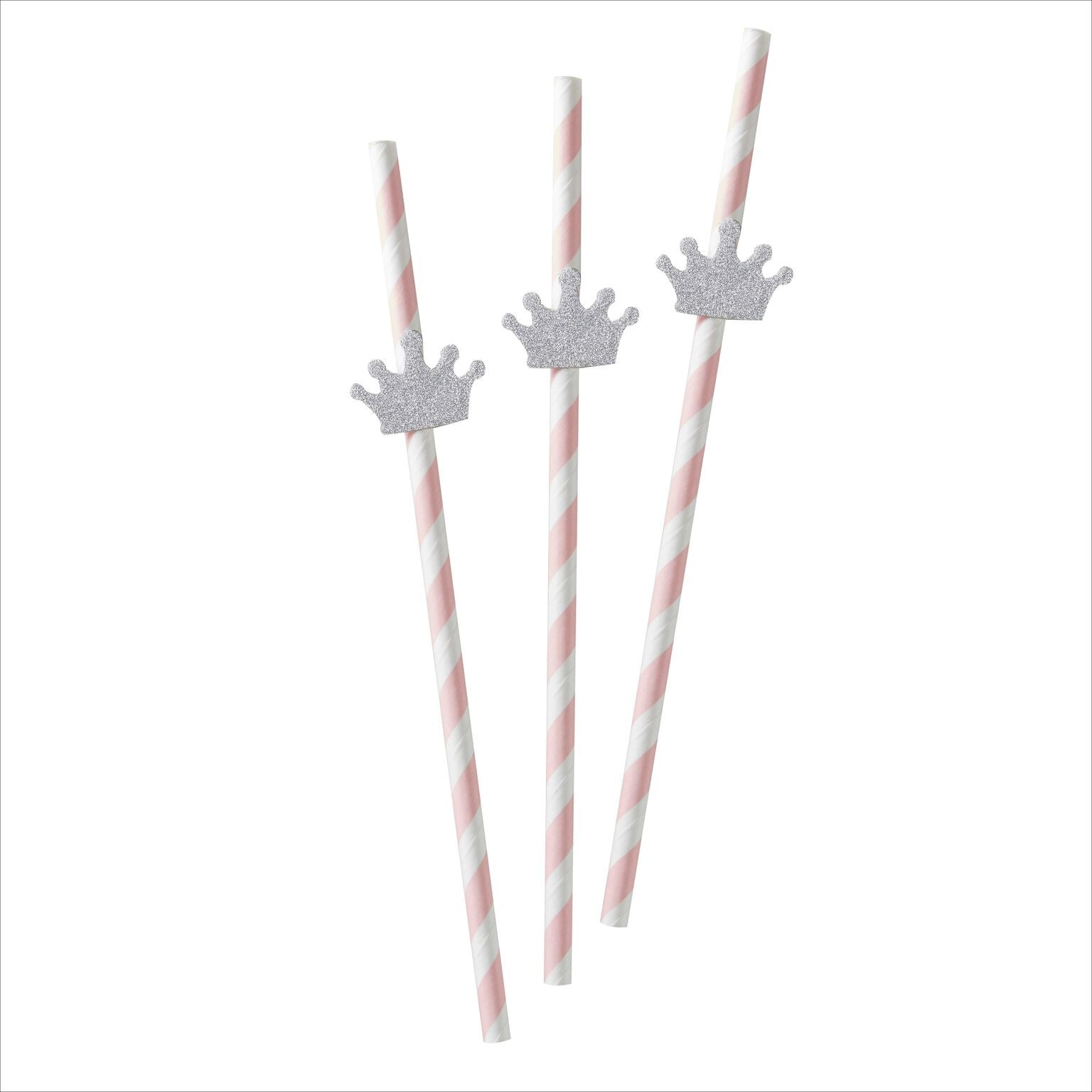 """Princess Perfection"" Silver Crown Straws"