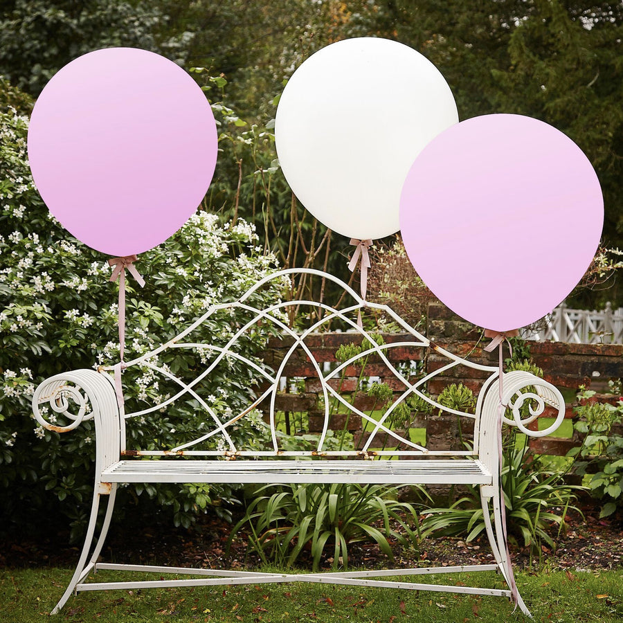 """A Vintage Affair"" Huge Balloons - Pink & White"