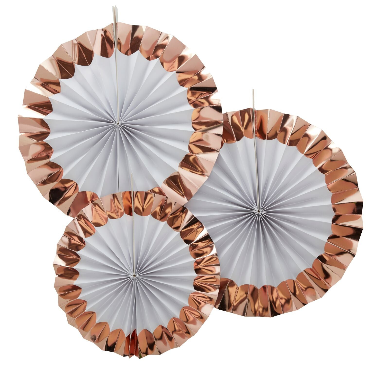 """Team Bride"" Rose Gold Circle Fan Decorations"