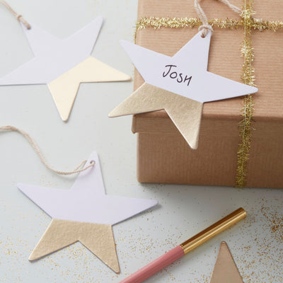 Dipped Foil Star Gift Tags - Gold -  Party Supplies - GR-Ginger Ray UK - Putti Fine Furnishings Toronto Canada - 2