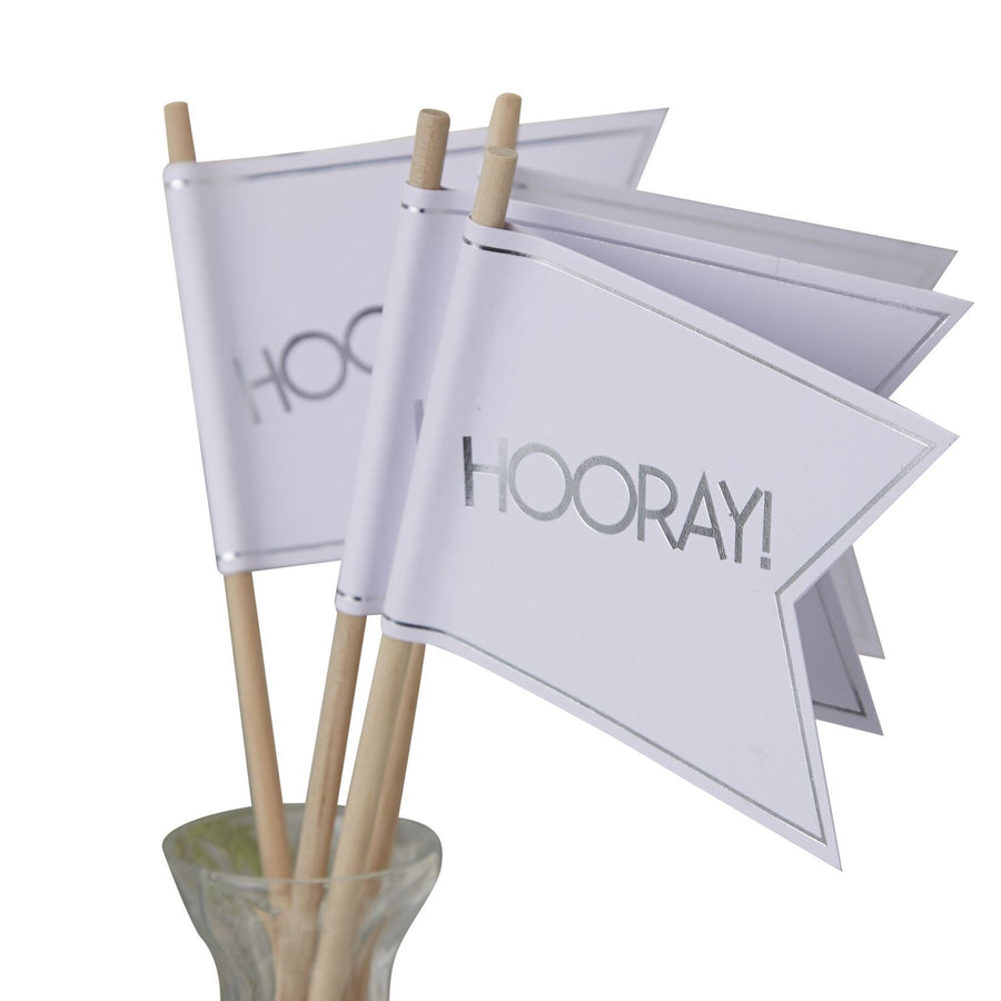 Wedding Flags - White and Metallic Silver