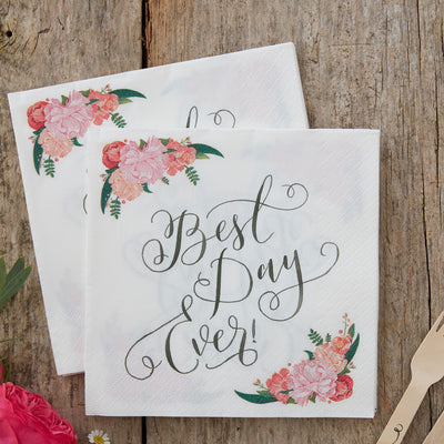 Floral Best Day Ever- Paper Napkins -  Party Supplies - Ginger Ray UK - Putti Fine Furnishings Toronto Canada - 2