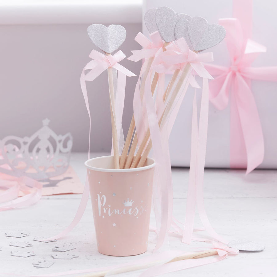 """Princess Perfection"" Pink And Silver Glitter Heart Princess Party Wands"