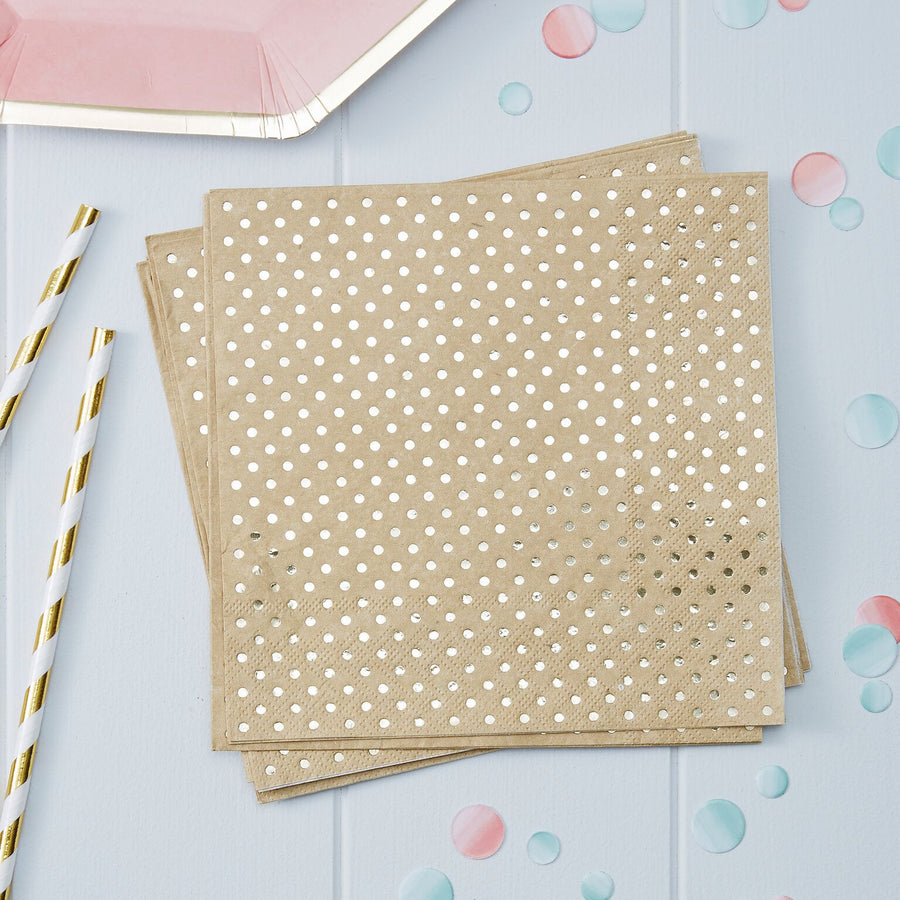 Kraft Gold Foil Dot - Paper Lunch Napkins