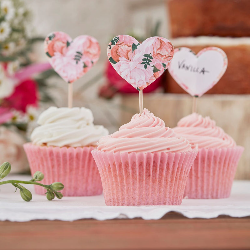 """Boho"" Floral - Heart Shaped Cupcake Picks -  Party Supplies - Ginger Ray UK - Putti Fine Furnishings Toronto Canada - 1"