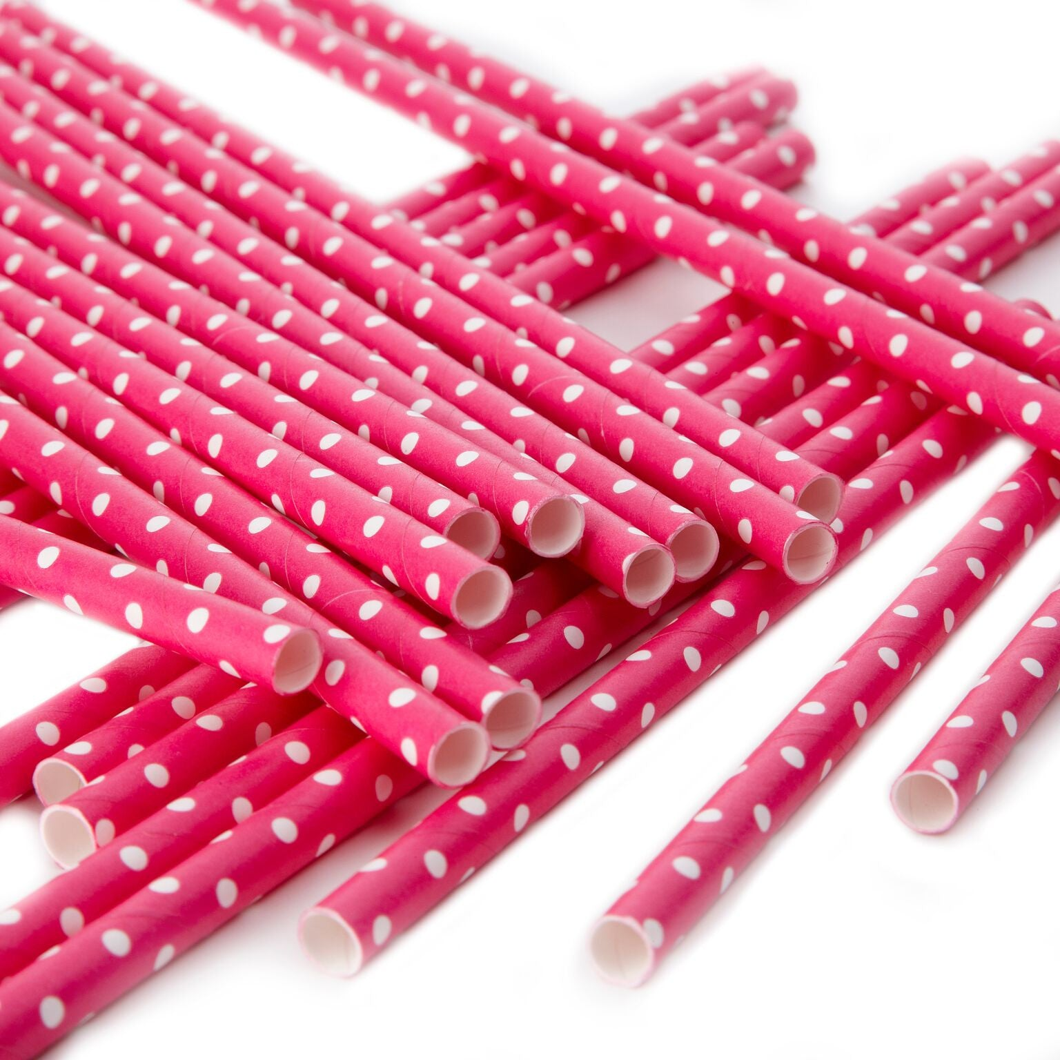 Polka Dot Paper Straws - Hot Pink and White