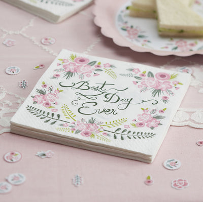 """Floral Fancy Best Day Ever"" Paper Napkins -  Party Supplies - Ginger Ray UK - Putti Fine Furnishings Toronto Canada - 3"