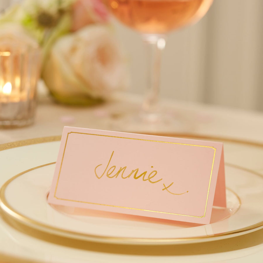 Gold Foil Blush Pink - Place Cards