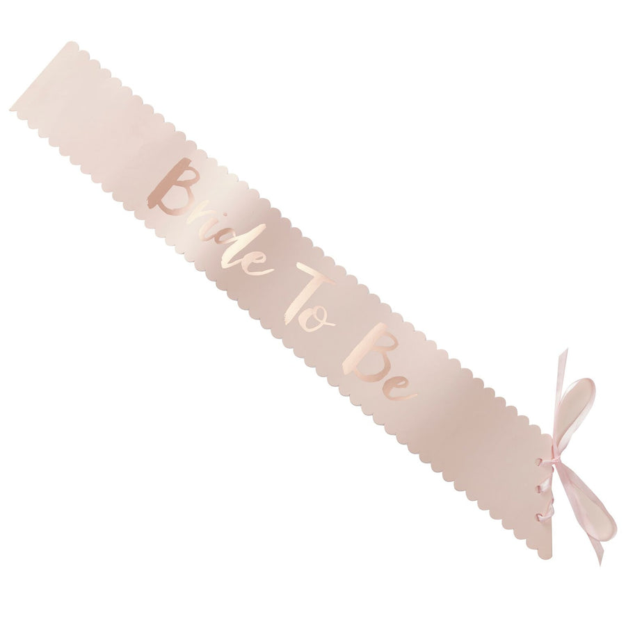 """Team Bride"" Pink And Rose Gold ""Bride To Be"" Sash, GR-Ginger Ray UK, Putti Fine Furnishings"
