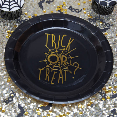 "Gold Foiled ""Trick or Treat"" Halloween - Paper Plates, GR-Ginger Ray UK, Putti Fine Furnishings"