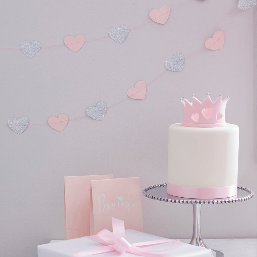 """Princess Perfection"" Pink And Silver Glitter Heart Garland"