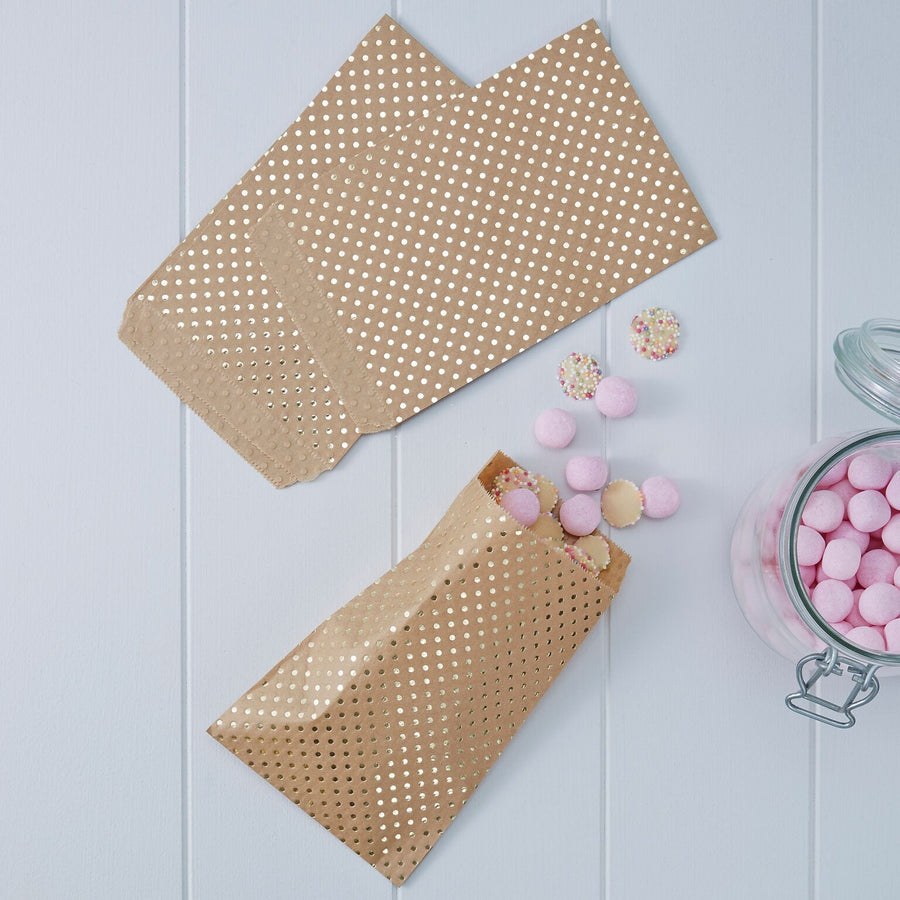 Kraft Gold Foil Dot - Treat Bags, GR-Ginger Ray UK, Putti Fine Furnishings
