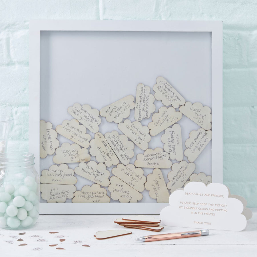 """Hello World"" Cloud Guest Book Drop Box frame, GR-Ginger Ray UK, Putti Fine Furnishings"
