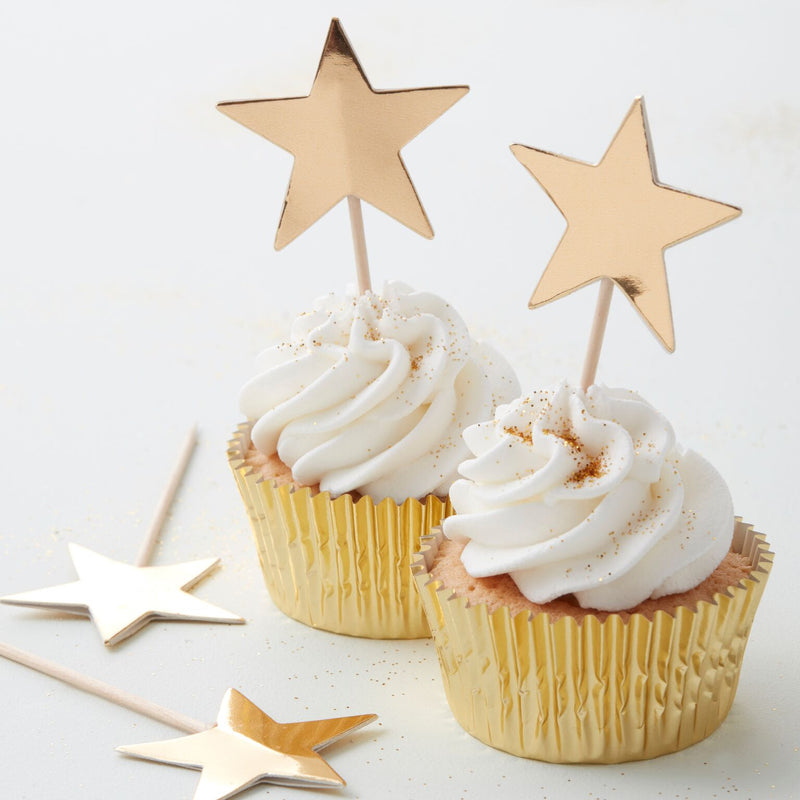 Gold Star Cup Cake Topper -  Party Supplies - GR-Ginger Ray UK - Putti Fine Furnishings Toronto Canada - 1