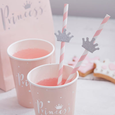 """Princess Perfection"" Silver Crown Straws, GR-Ginger Ray UK, Putti Fine Furnishings"
