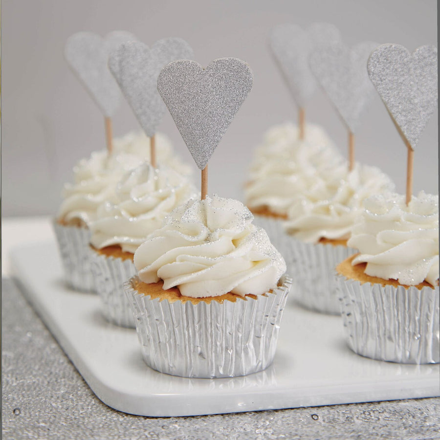 Silver Glitter Heart Cake Toppers -  Party Supplies - Ginger Ray UK - Putti Fine Furnishings Toronto Canada - 1