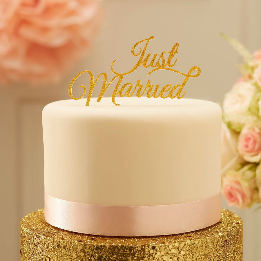 """Just Married"" Cake Topper - Gold"