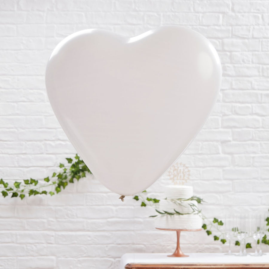 Huge White Heart Balloons