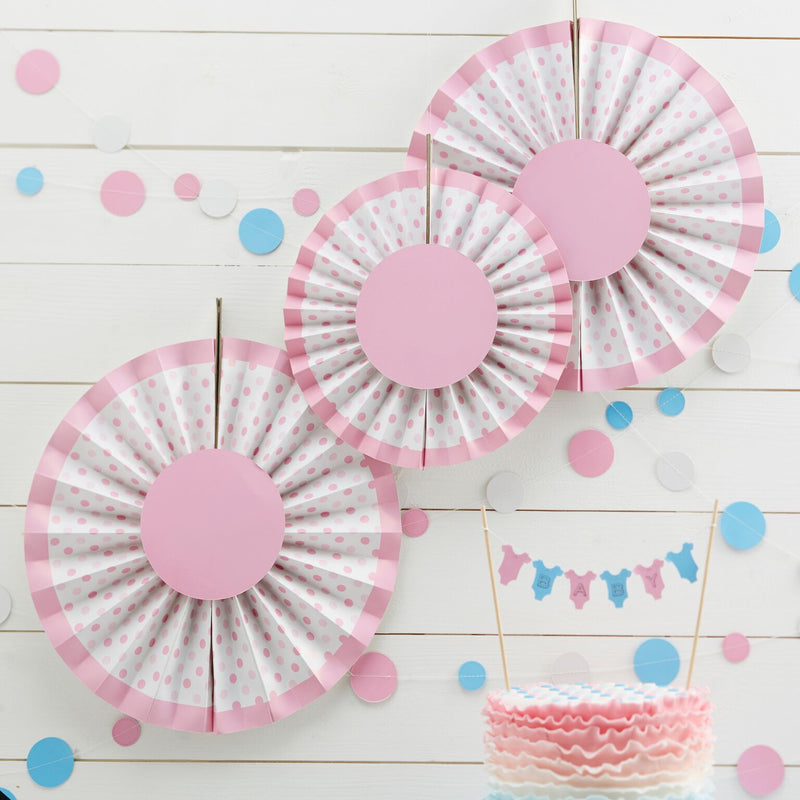 Little Lady or A Mini Mister Pink Fan Decorations, GR-Ginger Ray UK, Putti Fine Furnishings