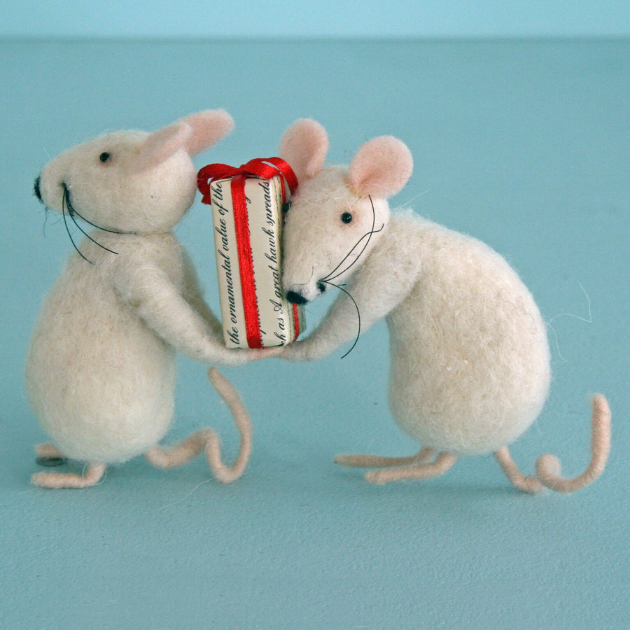 "Pair of Mice with Present"" Felted Ornament"