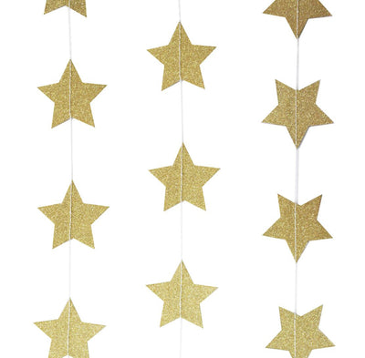 Gold Glitter Star Garland, GR-Ginger Ray UK, Putti Fine Furnishings