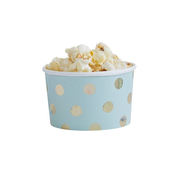 Aqua and Gold Polka Dot Treat Tubs -  Party Supplies - Ginger Ray UK - Putti Fine Furnishings Toronto Canada - 1
