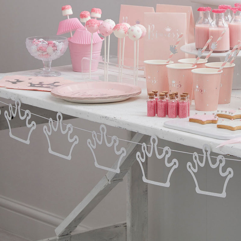 """Princess Perfection"" Silver Glitter Crown Garland, GR-Ginger Ray UK, Putti Fine Furnishings"