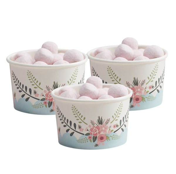"""Floral Fancy"" Ice Cream Cups with Spoons -  Party Supplies - Ginger Ray UK - Putti Fine Furnishings Toronto Canada - 1"