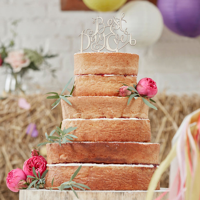 """Best Day Ever"" Wooden Cake Topper"