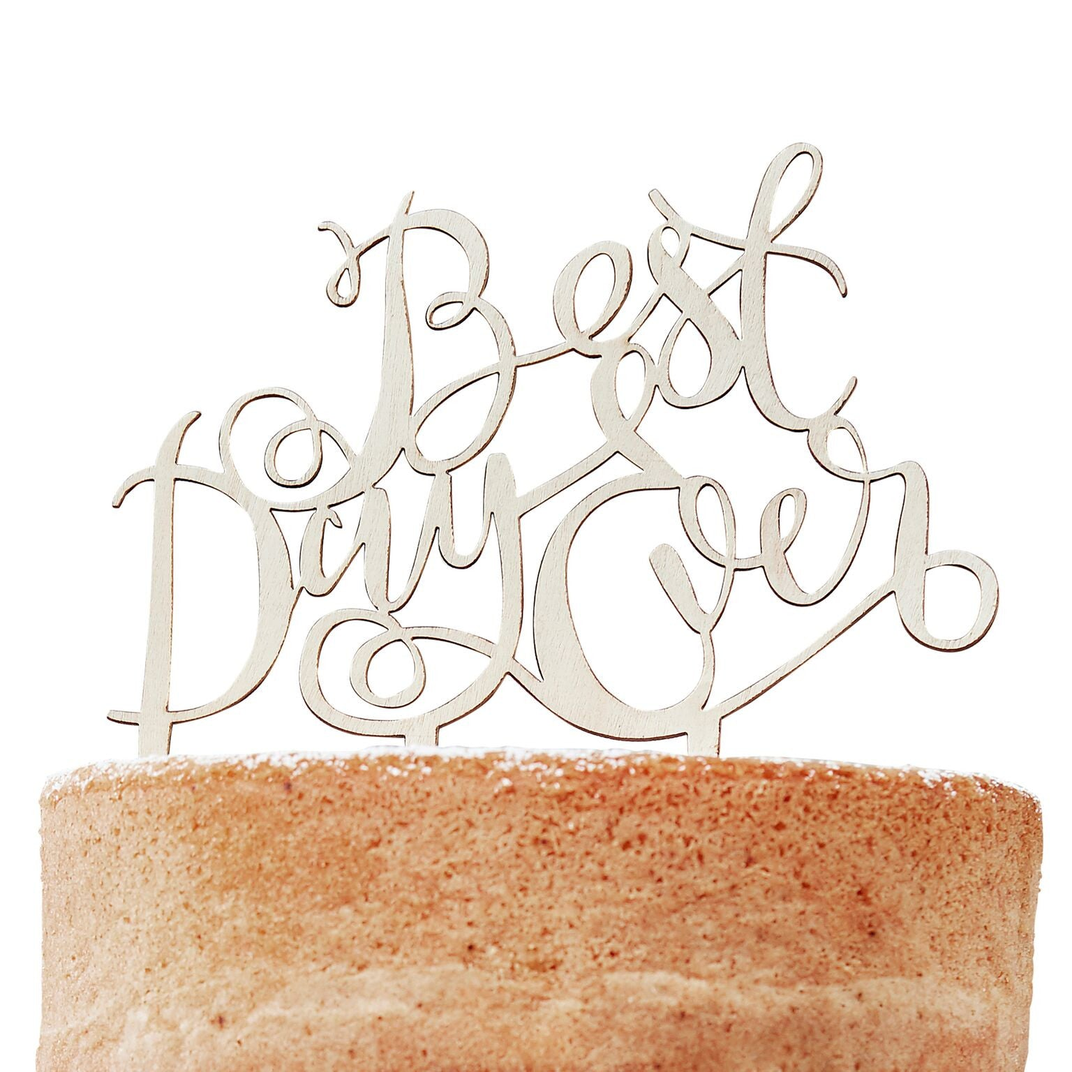 """Best Day Ever"" Wooden Cake Topper, GR-Ginger Ray UK, Putti Fine Furnishings"