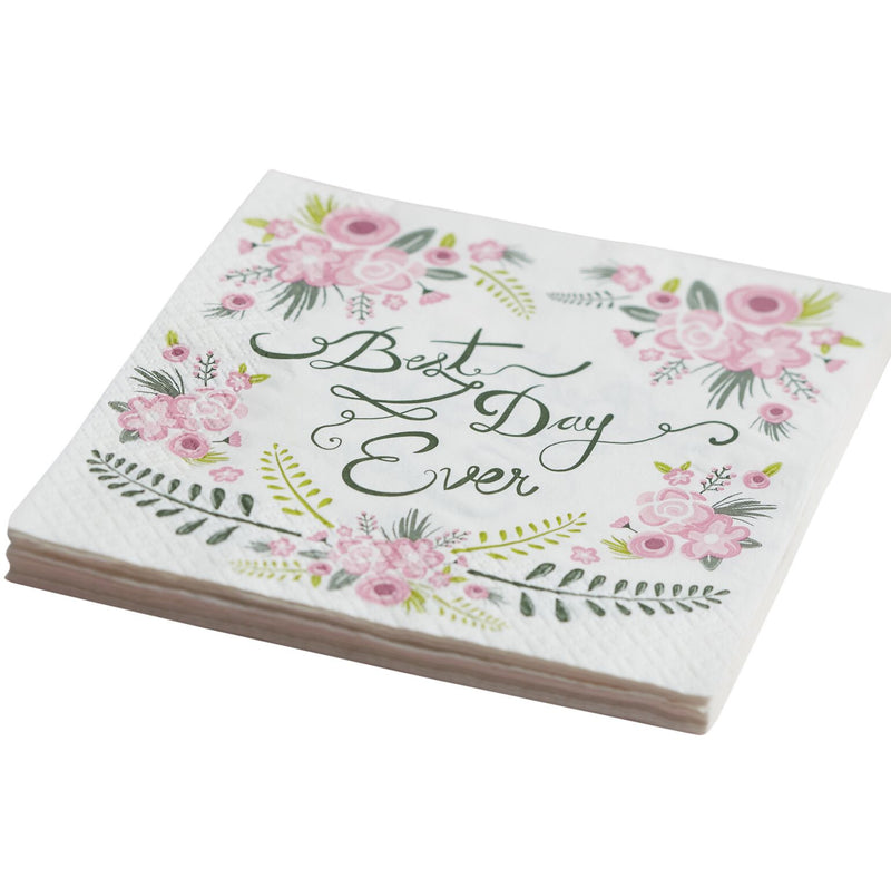 """Floral Fancy Best Day Ever"" Paper Napkins"