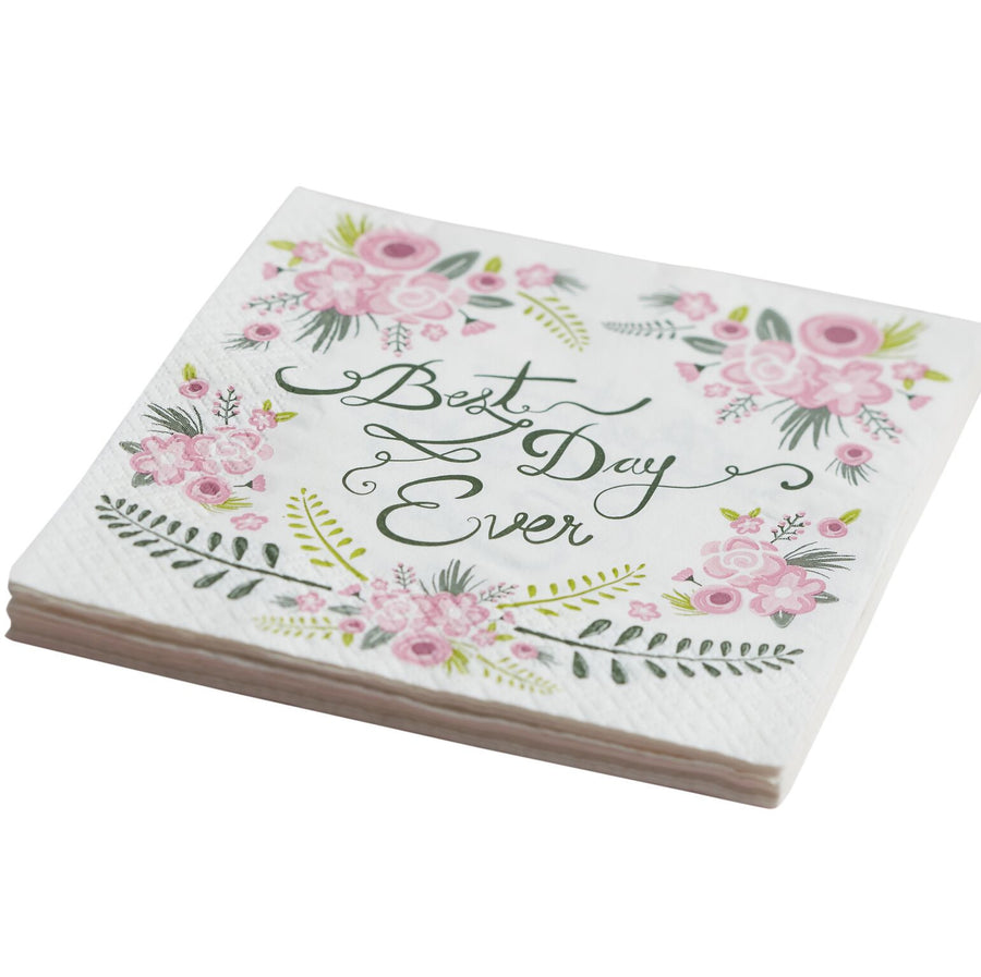 """Floral Fancy Best Day Ever"" Paper Napkins -  Party Supplies - Ginger Ray UK - Putti Fine Furnishings Toronto Canada - 1"