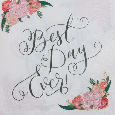 Floral Best Day Ever- Paper Napkins -  Party Supplies - Ginger Ray UK - Putti Fine Furnishings Toronto Canada - 1