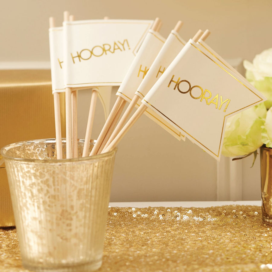 Wedding Flags - Ivory and Metallic Gold
