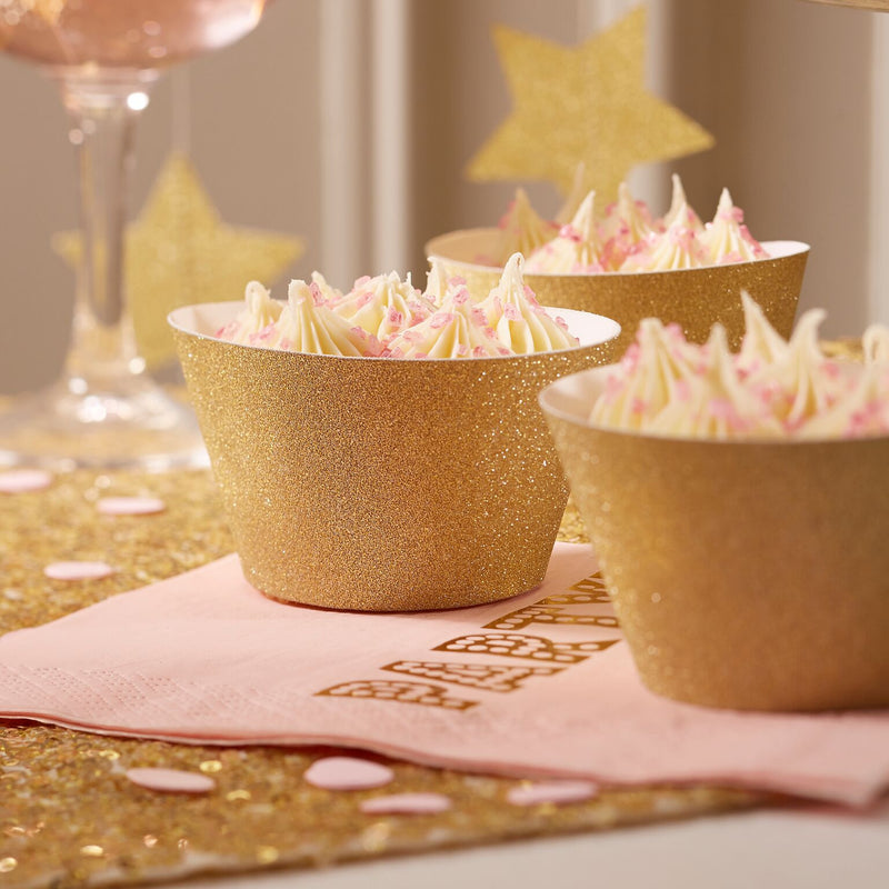 Gold Glitter Cup Cake Wraps, GR-Ginger Ray UK, Putti Fine Furnishings