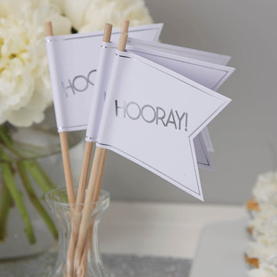 Wedding Flags - White and Metallic Silver, GR-Ginger Ray UK, Putti Fine Furnishings
