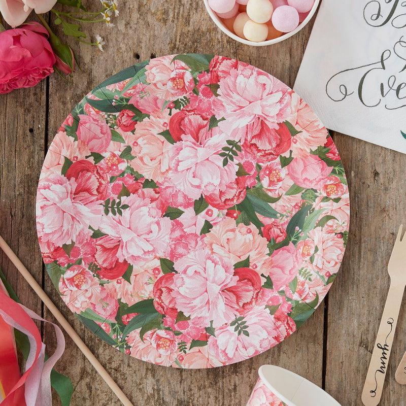"""Boho"" Floral - Paper Plates -  Party Supplies - Ginger Ray UK - Putti Fine Furnishings Toronto Canada - 1"