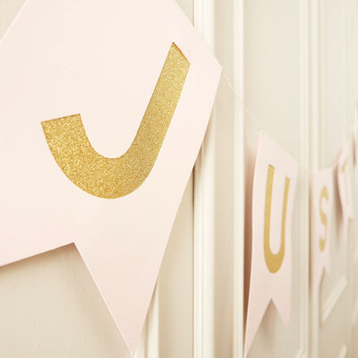 "Pink and Metallic Gold ""Just Married"" Bunting, GR-Ginger Ray UK, Putti Fine Furnishings"