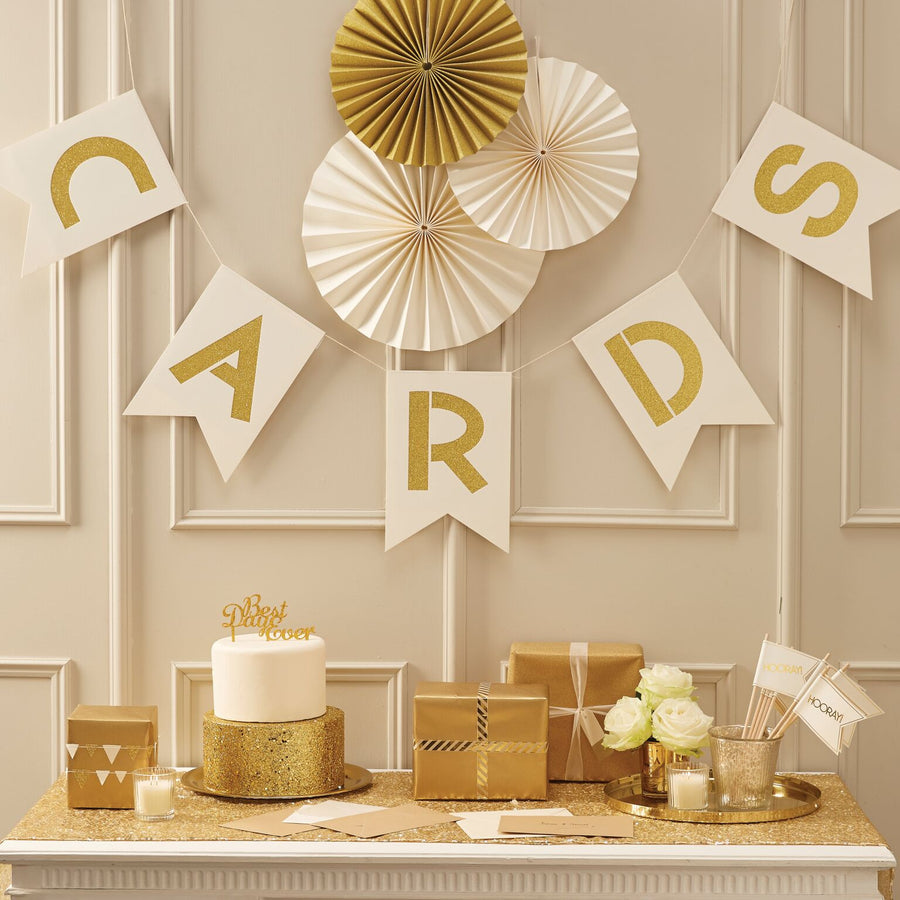 "Ivory and Metallic Gold ""Cards"" Bunting, GR-Ginger Ray UK, Putti Fine Furnishings"