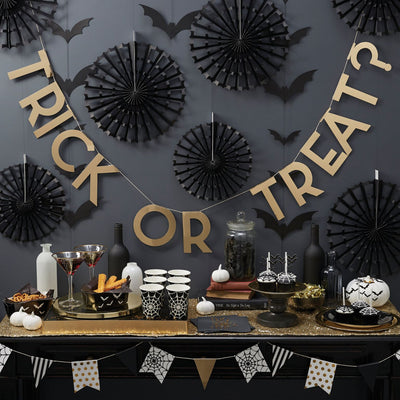 "Gold Foiled ""Trick or Treat"" Halloween - Banner, GR-Ginger Ray UK, Putti Fine Furnishings"