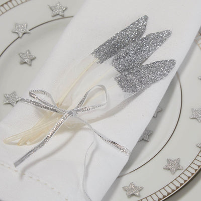 Silver Glitter Dipped Feathers, GR-Ginger Ray UK, Putti Fine Furnishings