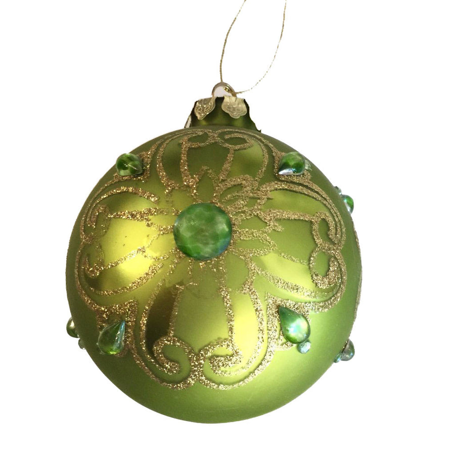 Green with Glitter and Jewels Glass Ornament