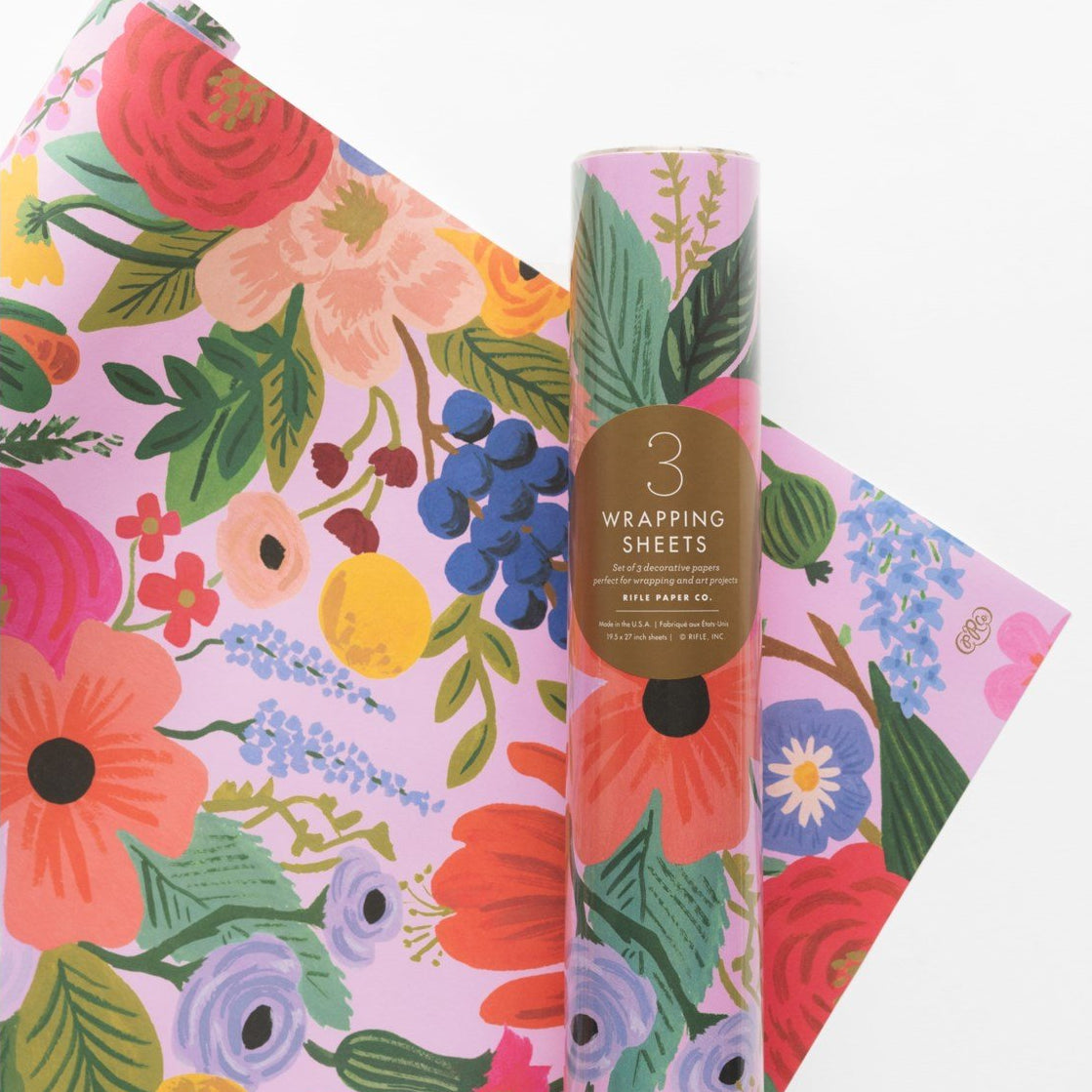 Rifle Paper Co. Garden Party 3 Sheet Wrapping Paper Roll