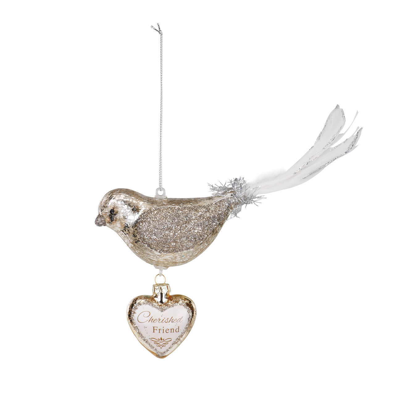 Bird Dangle Heart Glass Ornament - Friend