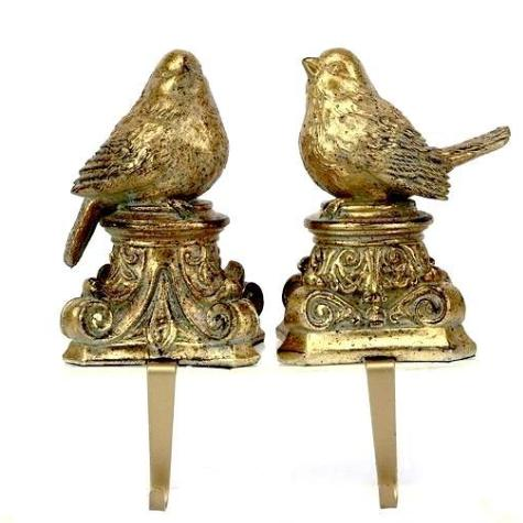 Pair of Gold Imperial Bird Stocking Holder