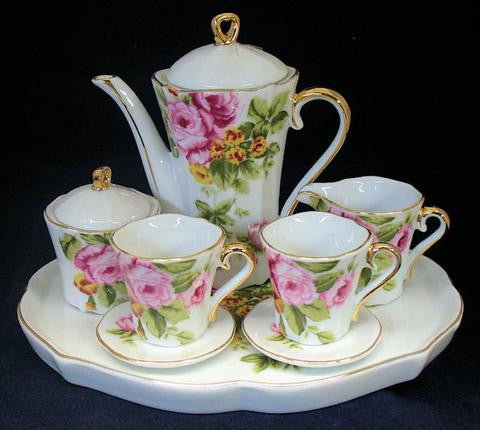 Pink Rose Miniature Tea Set