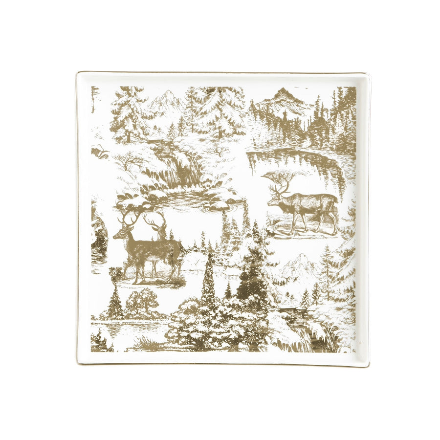 Gold Toile Reindeer Serveware  - Square, HI-Harman Inc, Putti Fine Furnishings