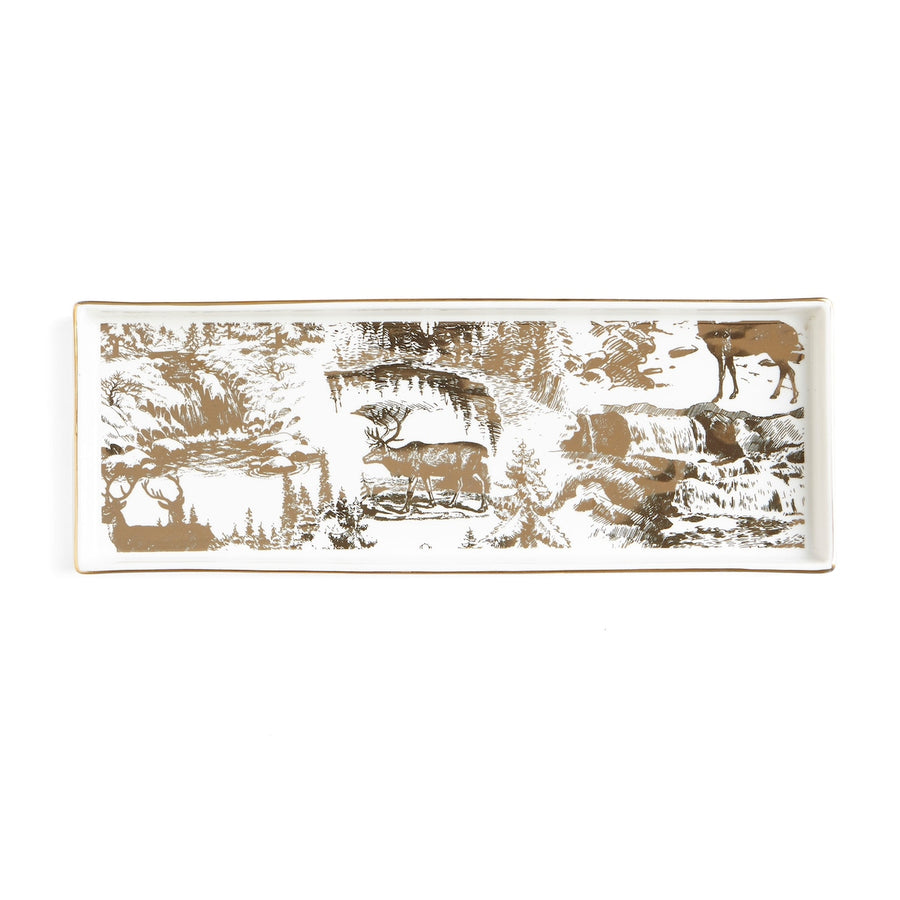 Gold Toile Reindeer Serveware  - Rectangular, HI-Harman Inc, Putti Fine Furnishings